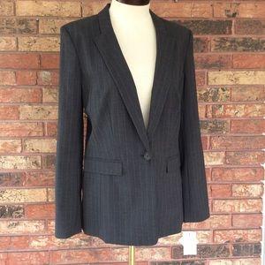 Halogen 10 Gray Pinstripe Blazer Jacket 1 Button